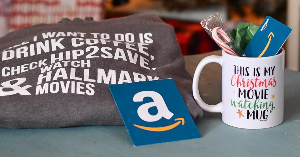 Amazon gift card with Hip2Save hoodie and coffee mug