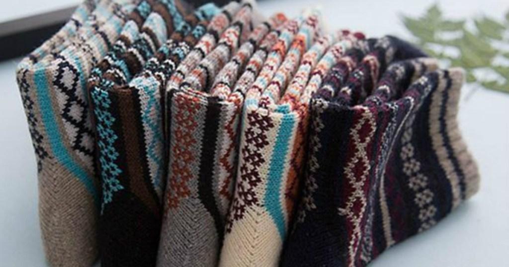 row of wool socks