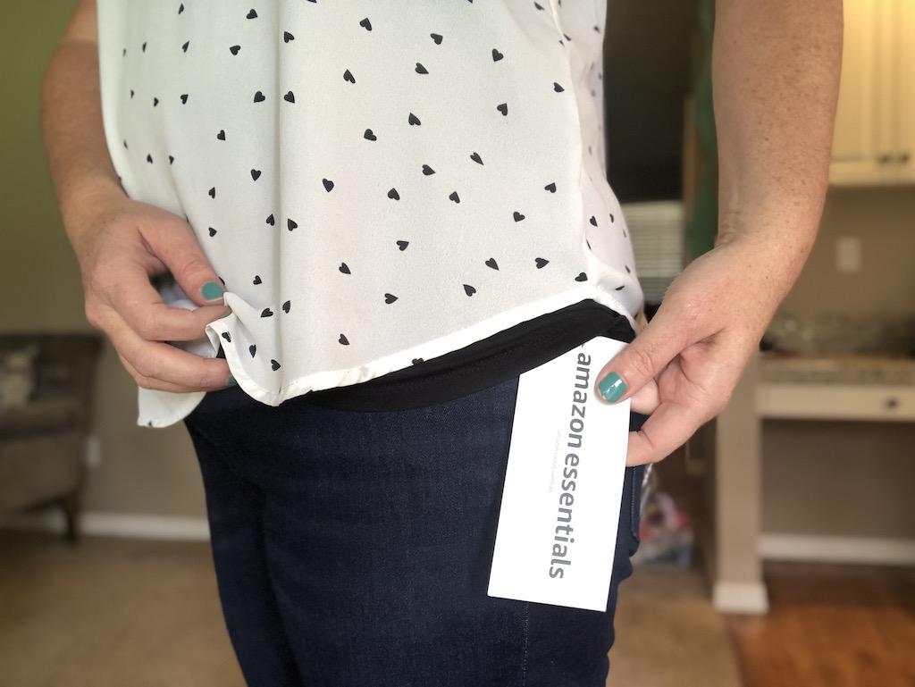 close up of Amazon Essentials jeans
