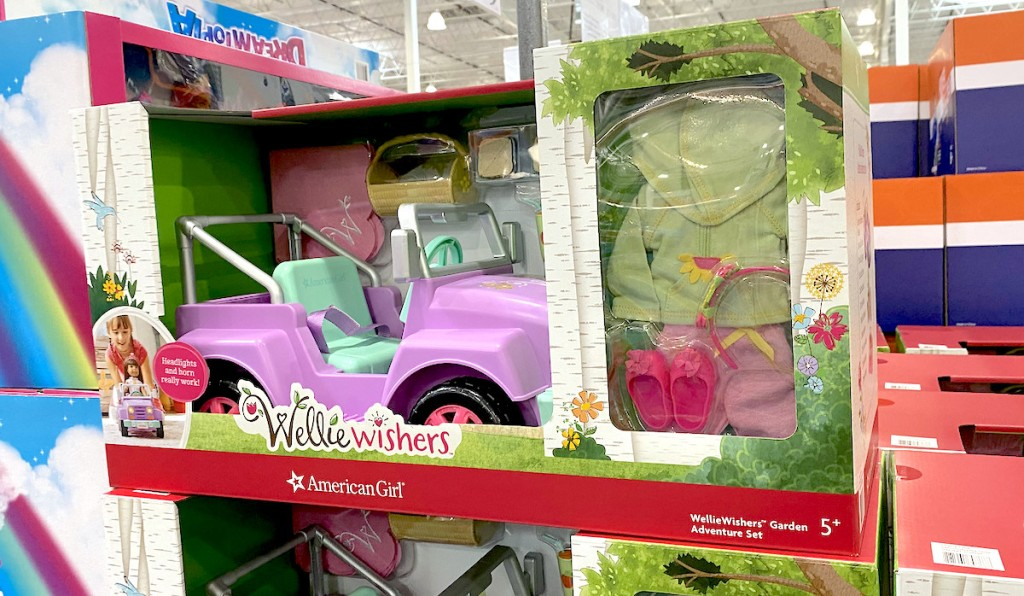 american girl wellie wishers in boxes stacked on store shelf