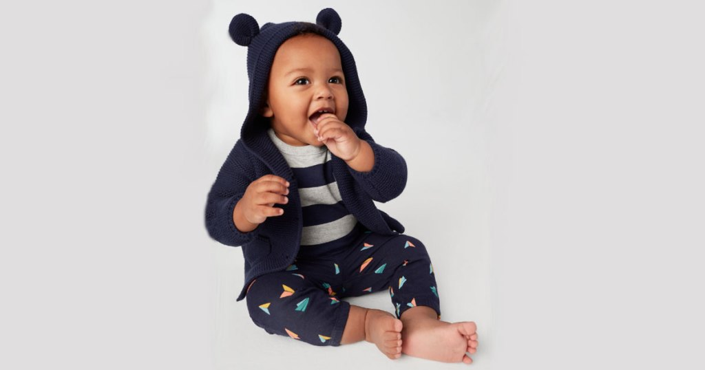 gap 40% off sale with baby wearing brennan sweater