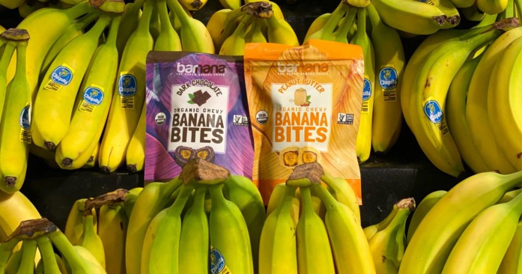 banana bites bags sitting on bananas