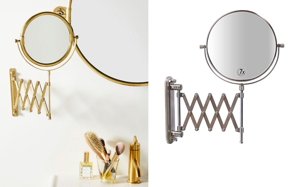 gold and silver wall mounted mirrors