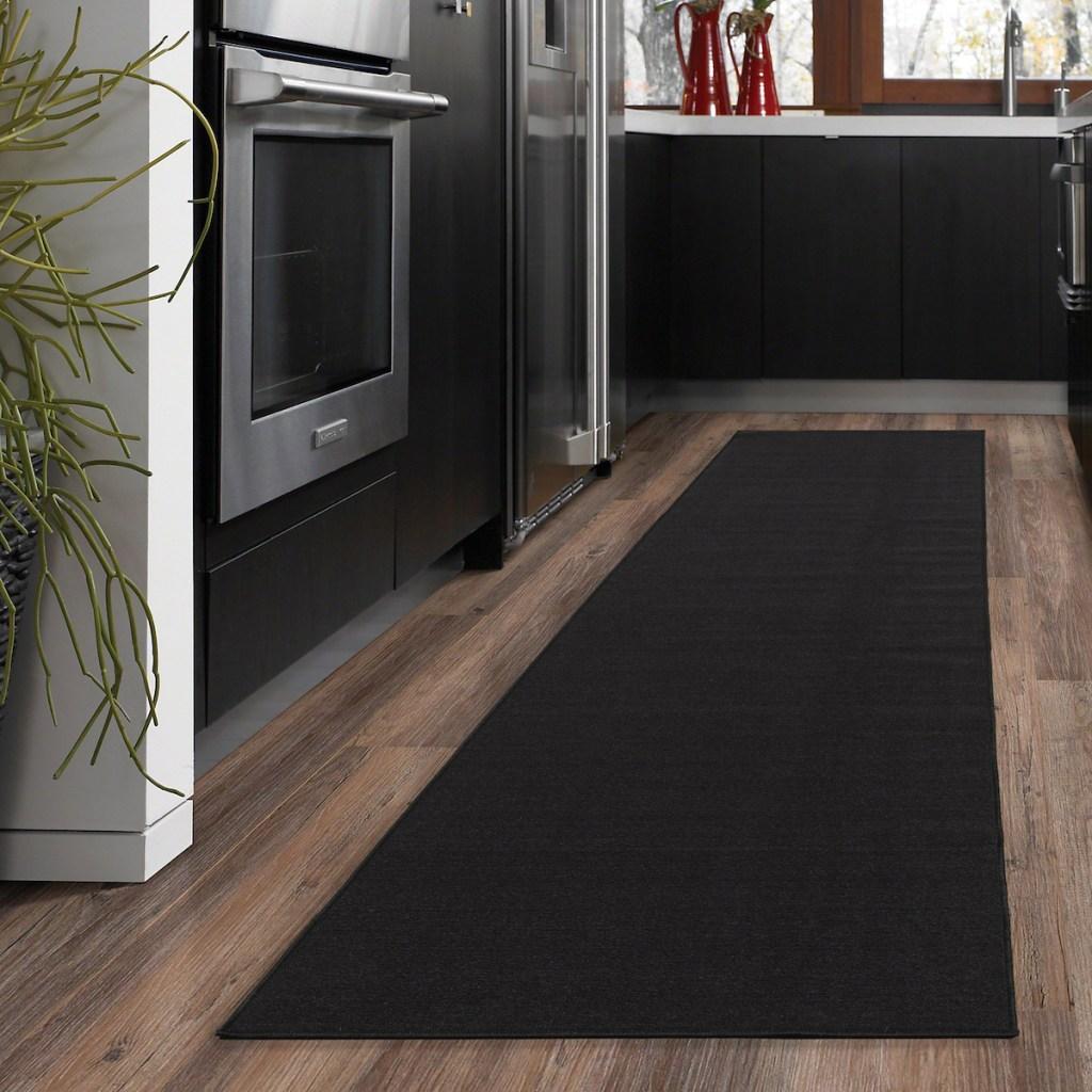 black runner rug in kitchen
