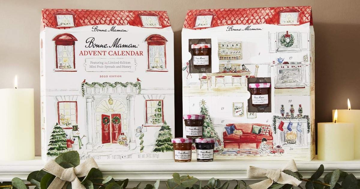 Advent calendar full of jam jars on mantle