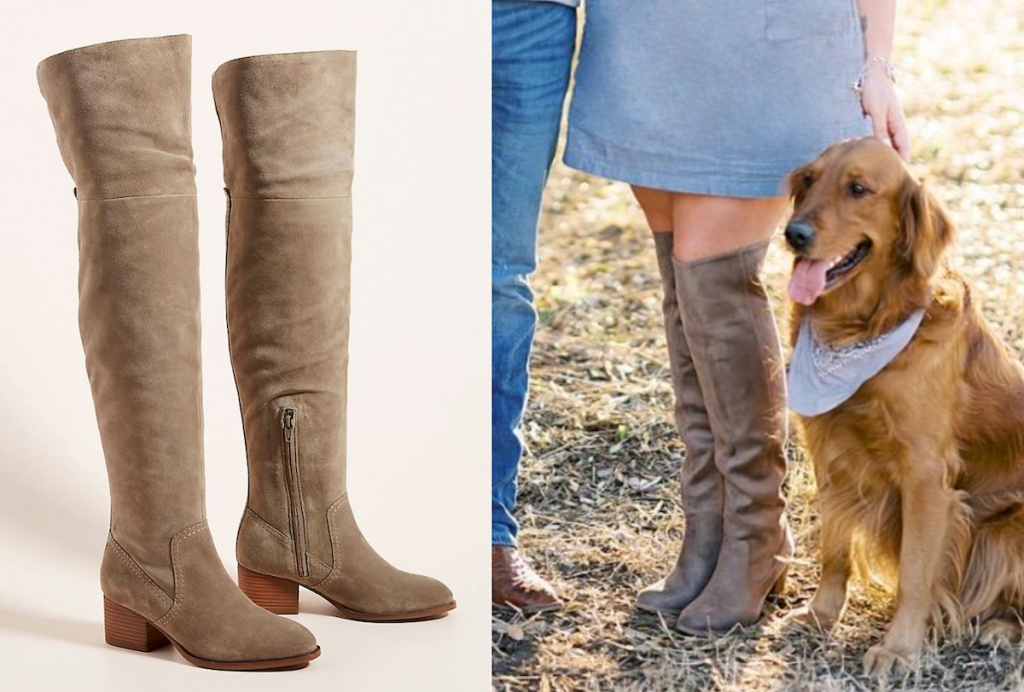 side by side of tan colored over the knees boots with woman standing next to dog