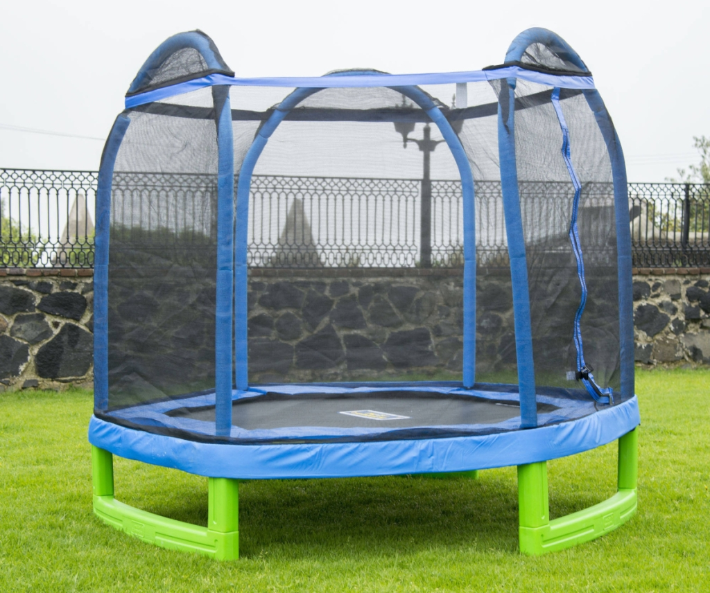 BouncePro 7-foot trampoline in grassy yard
