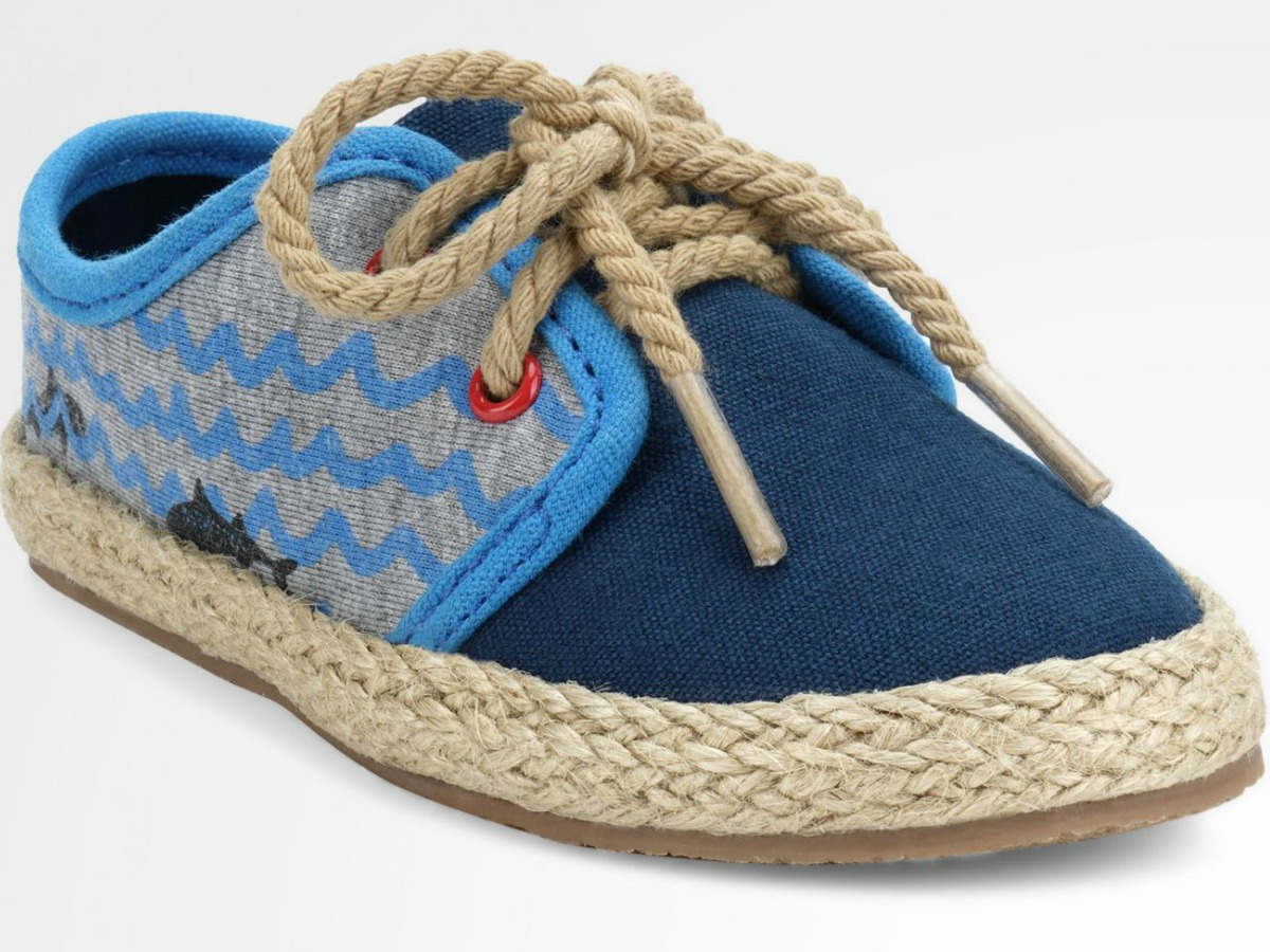 little blue shoes with water designs