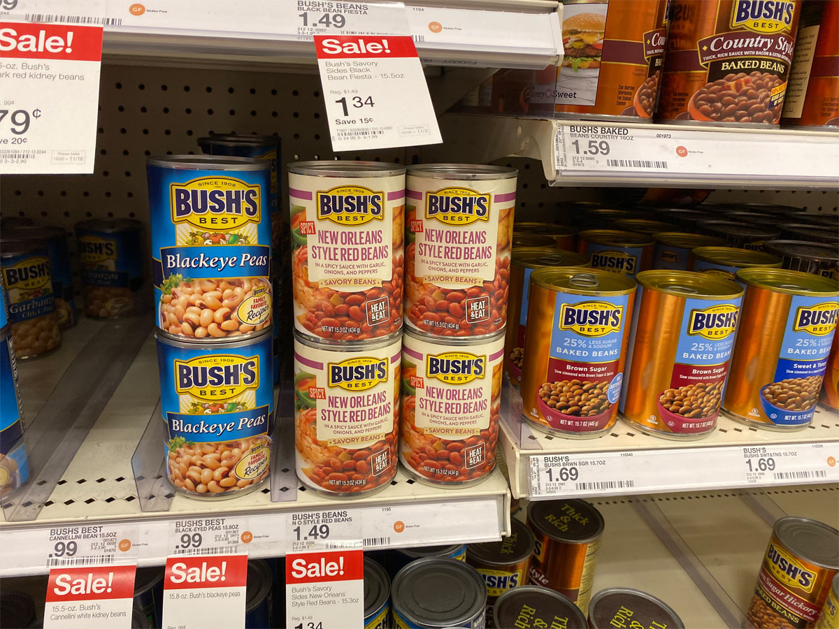 picture of Bush's Best savory beans on shelf at Target