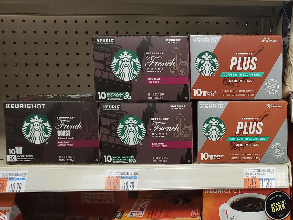 starbucks kcups on shelf in cvs