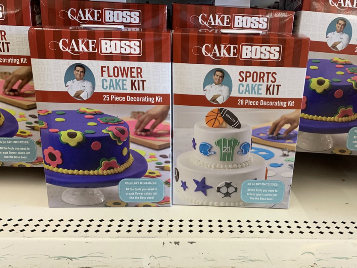 store display with Cake Boss cake decorating kits