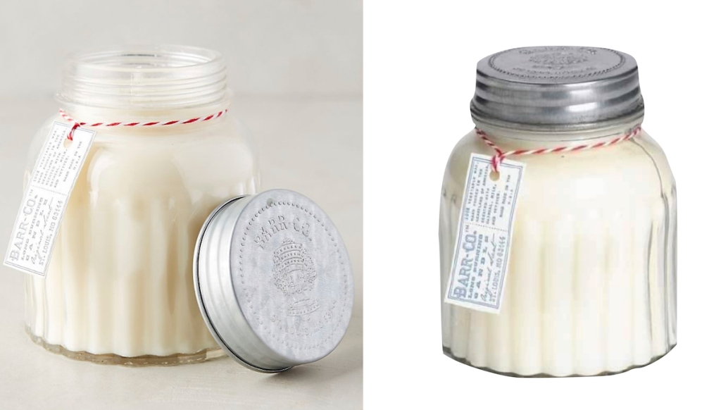 white candles with silver tin lid - anthropologie dupes
