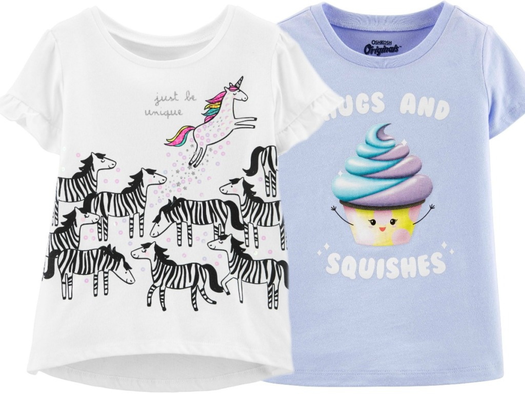 2 children's t shirts on white background