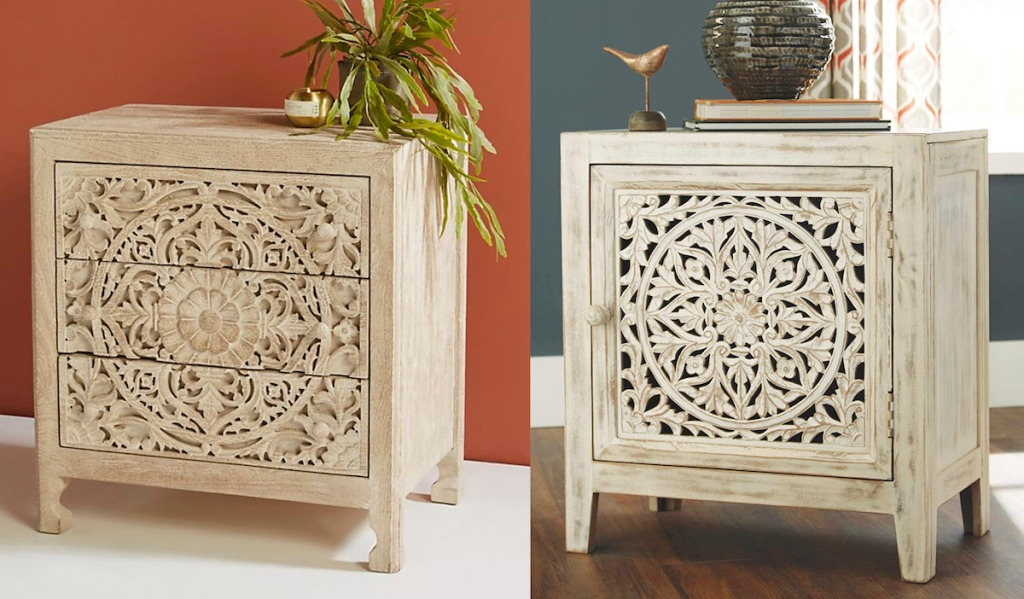 two wood carved nightstands