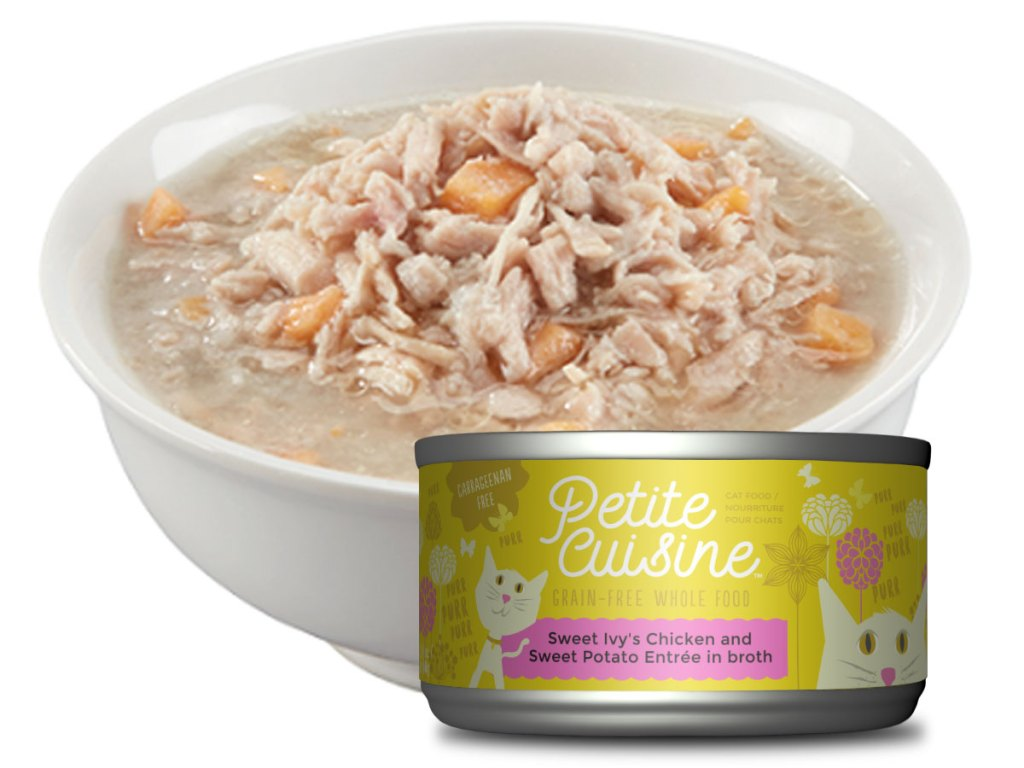 bowl of petite cuisine cat food with a can