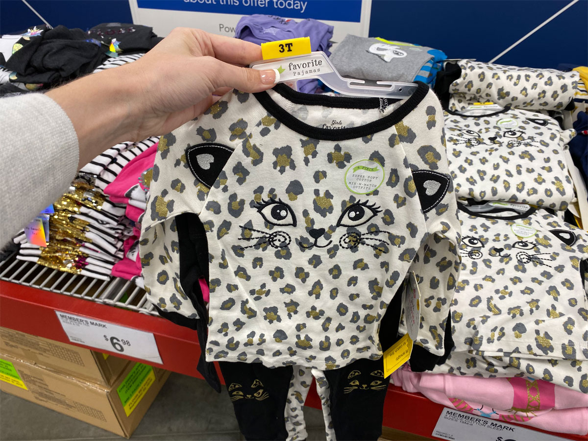 members mark 4 piece girls pajama sets cat