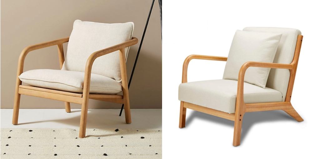 two wooden upholstered chairs anthropologie dupes