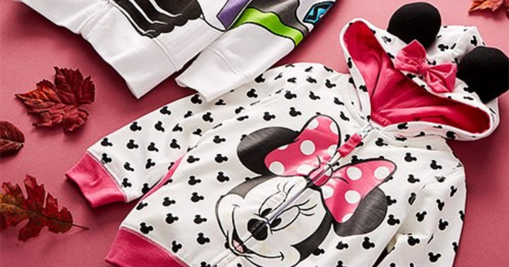 minnie mouse character hoodie with pink background and leaves