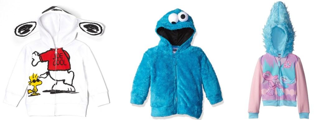 snoopy, cookie monster and trolls hoodies
