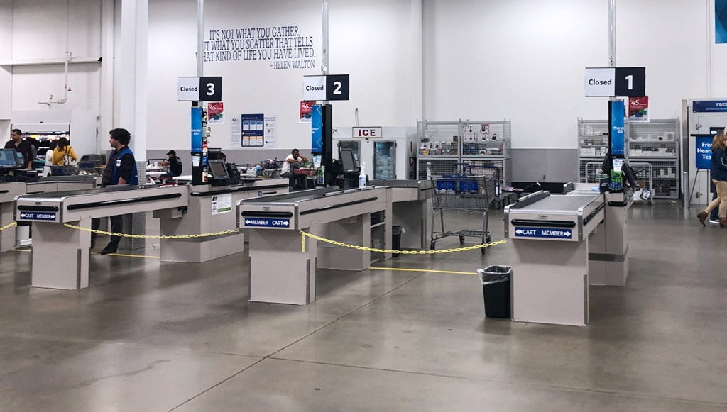 Empty checkout lines at Sam's Club