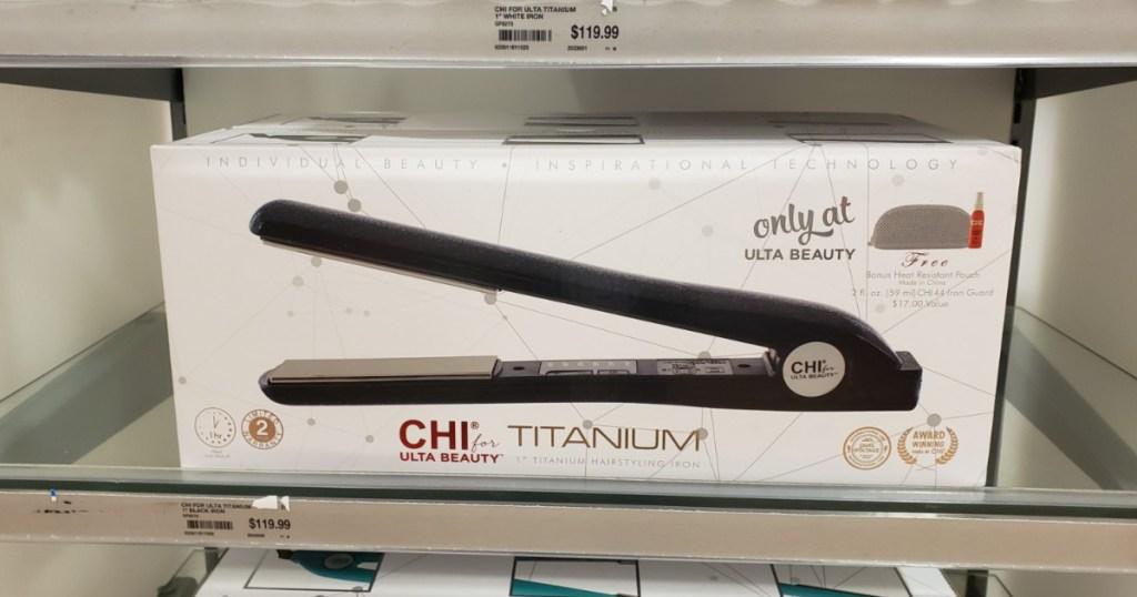 CHI flat iron on store shelf