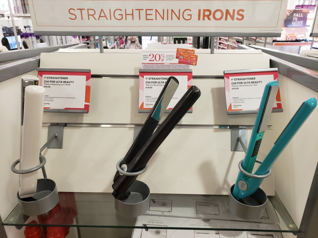 chi flat irons on display in store