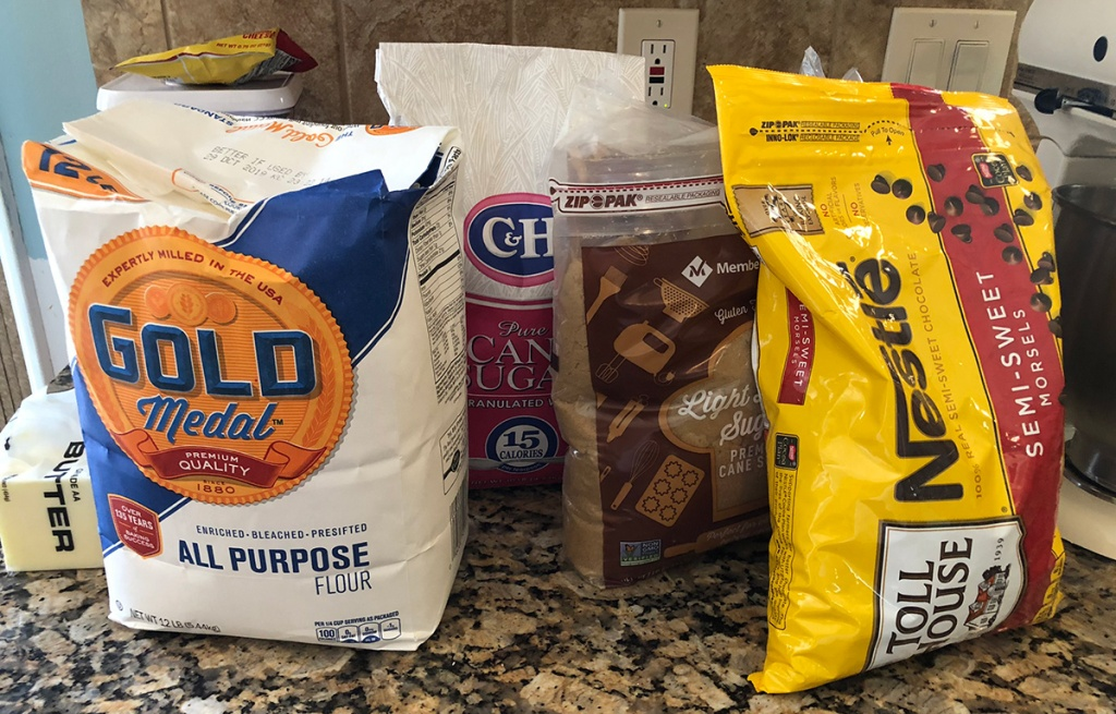 Chocolate chip cookie dough ingredients in bulk