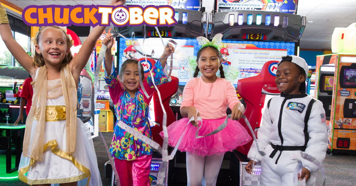 kids in costume at Chuck E. Cheese