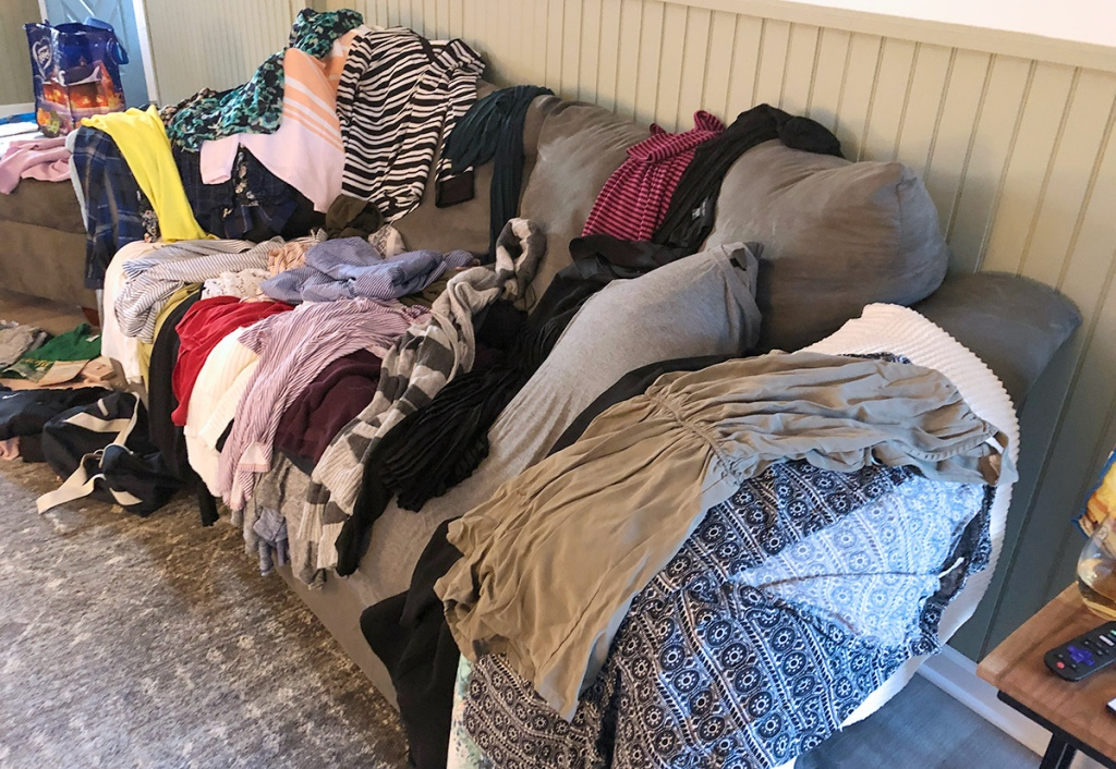 Clothes on couch