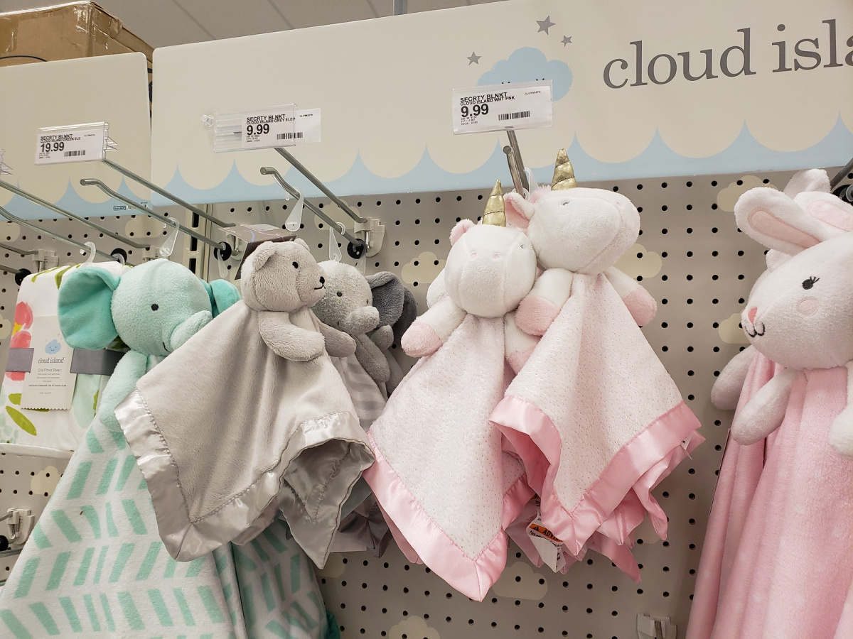 cloud island security blankets hanging in store