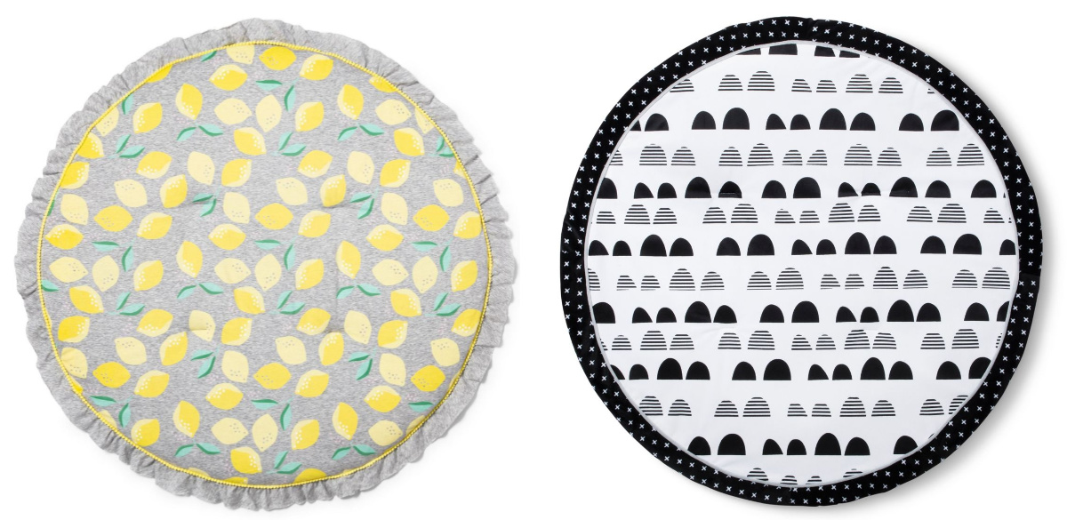 lemon and black and white mats