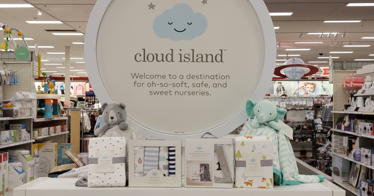 cloud island sign with items on display under sign