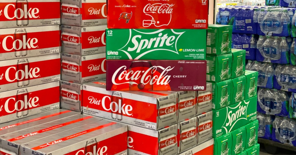 coca-cola sale with 12-packs stacked on display