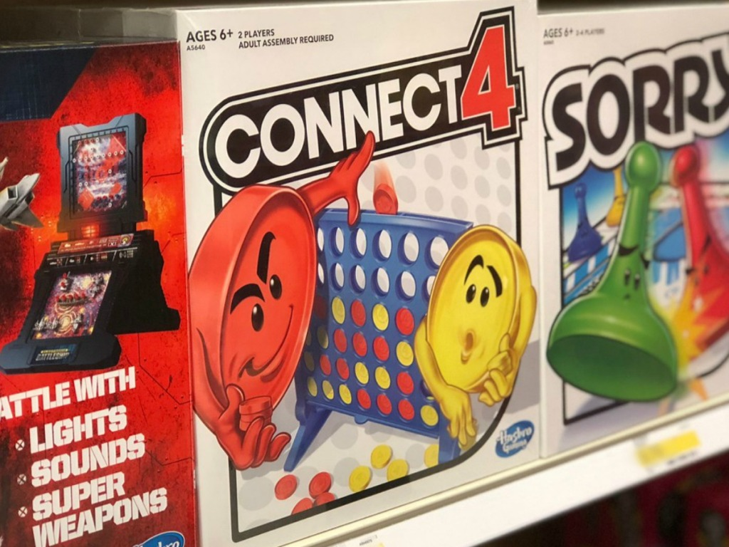 board games on shelf in store