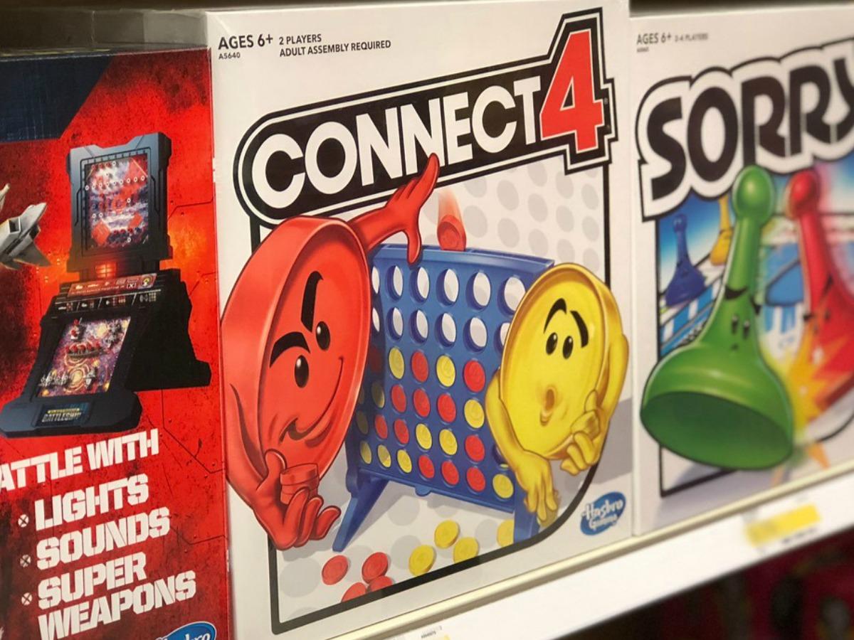 board games on shelf in store