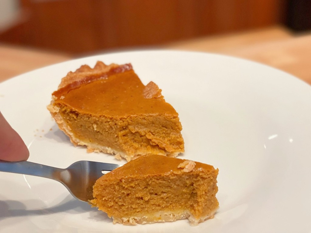 loading a fork with pumpkin pie