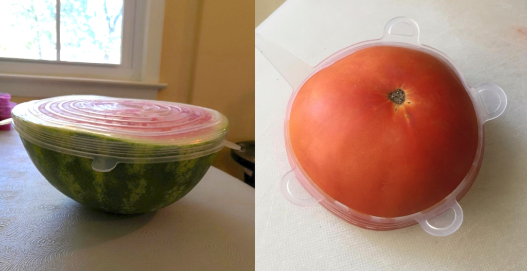 watermelon and tomato with silicone stretch lid on top