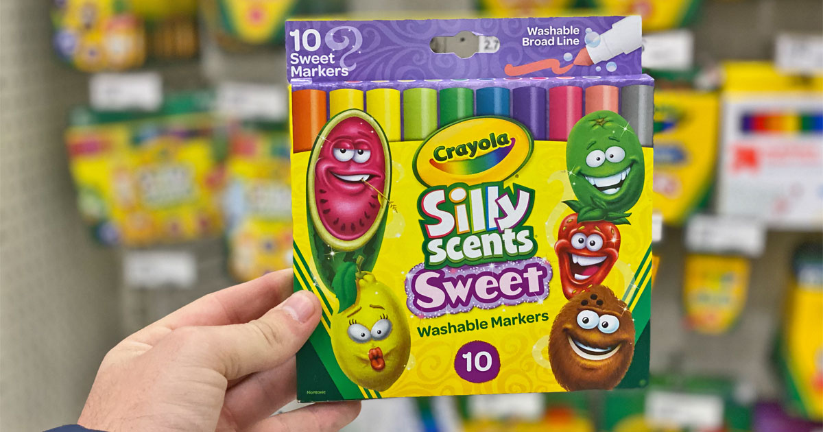 hand holding crayola silly scents sweet washable markers 10 pk