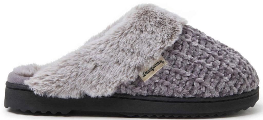 grey Dearfoams Women's Chunky Cable Knit Scuff Slipper