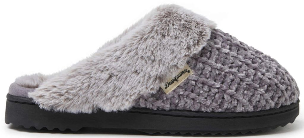 grey Dearfoams Women's Chunky Cable Knit Scuff Slipper