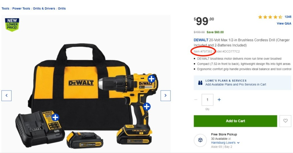 drill product page with item number circled