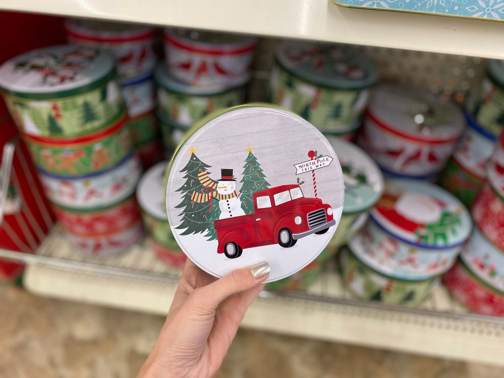 dollar tree christmas tin