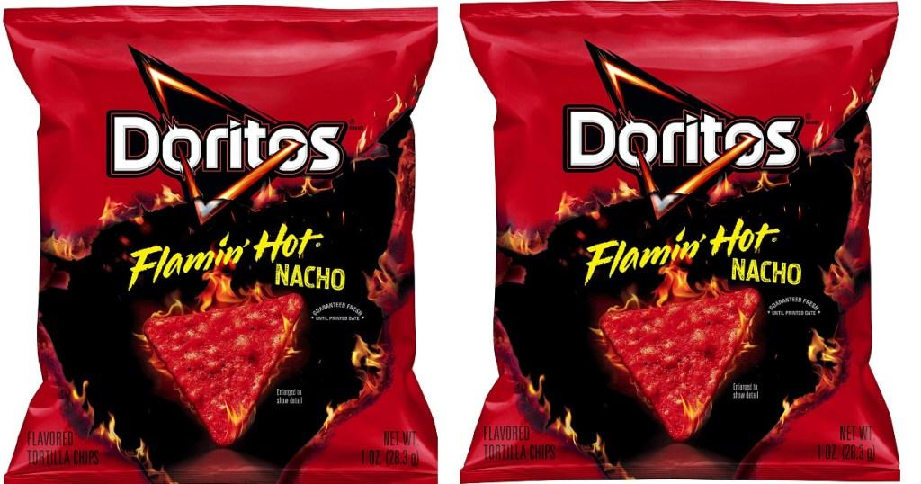 two doritos flamin hot bags