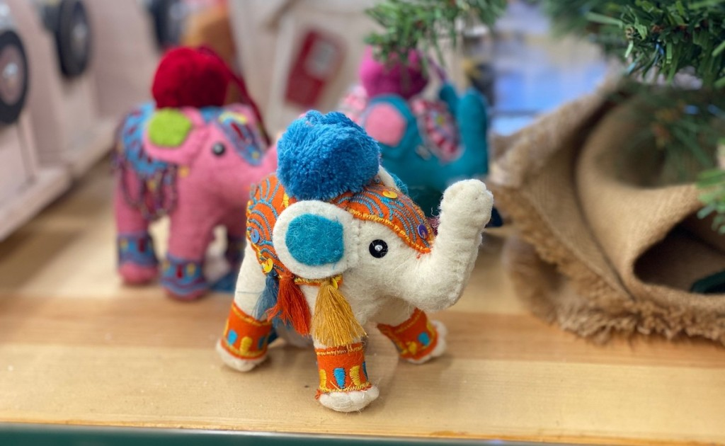 decorated colorful elephants christmas ornaments