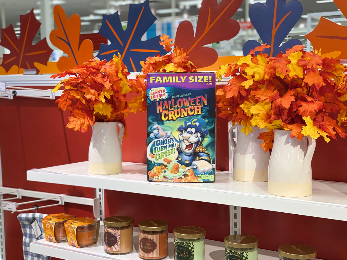 target family size halloween cap'n crunch cereal on shelf