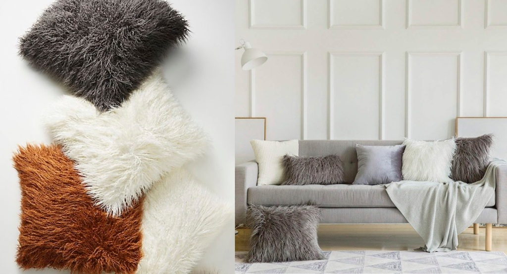various colors of faux fur throw pillows dark gray white and rust
