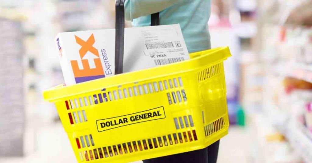 FedEx package in Dollar General basket