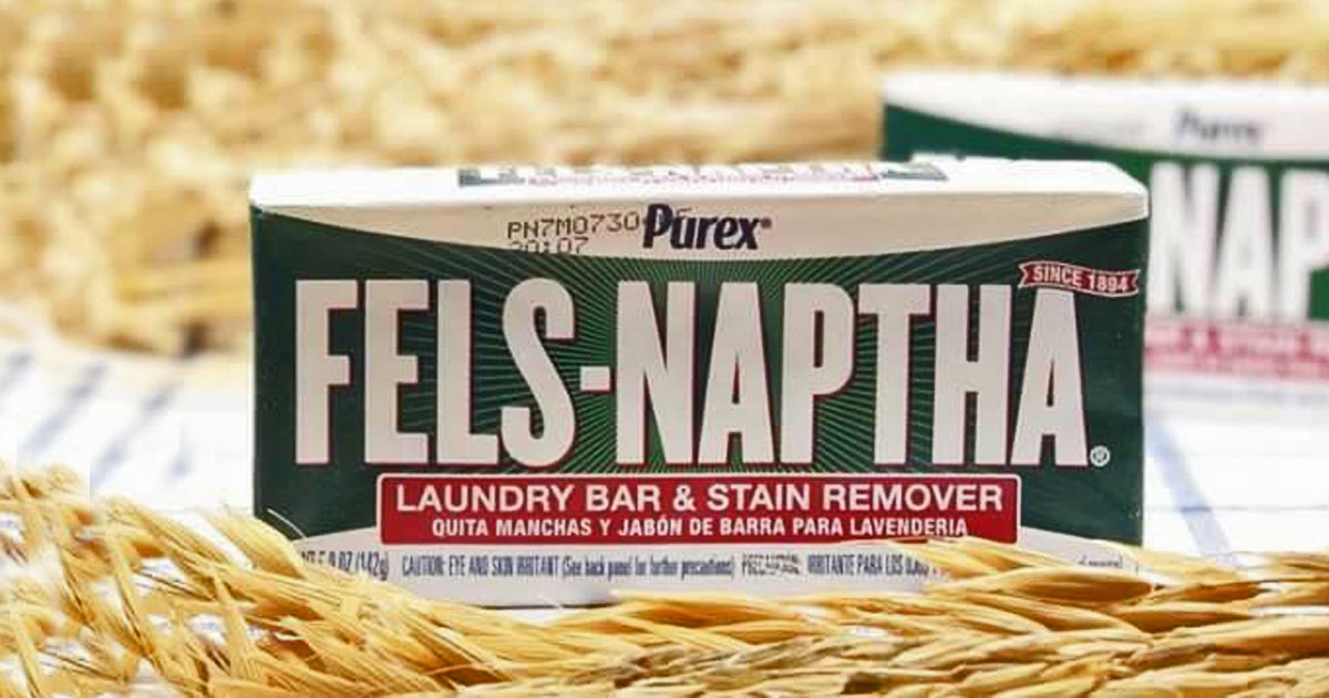 bar of fels-naptha on a laundry table