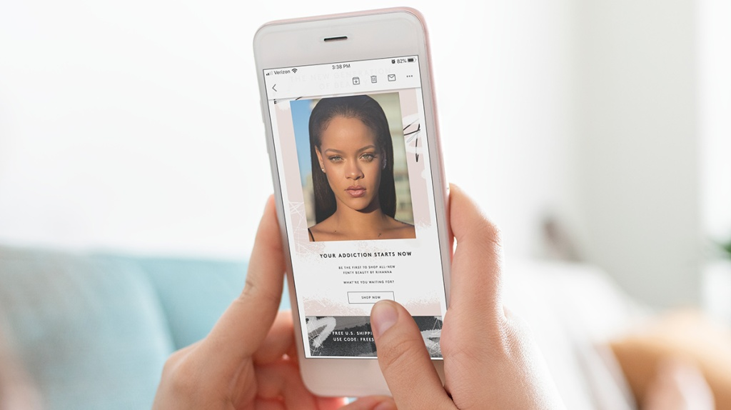 Fenty Beauty email newsletter on smartphone