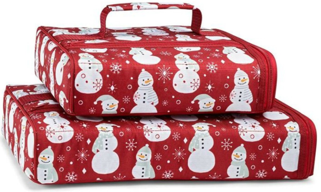 insulated food carriers with snowmen on them
